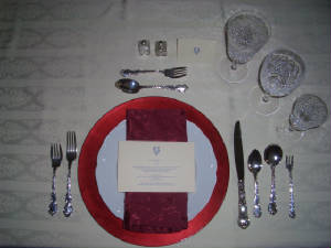 Formal Dinner with cocktail fork & Examples of Place Settings and Serving Pieces